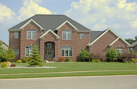 Luxury brick home. Super detail, 12MP camera. Stock Photo