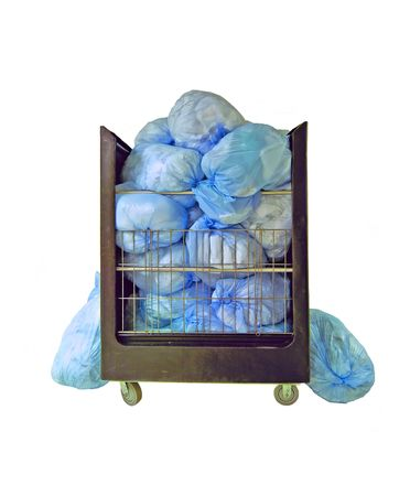 Real bags of hospital laundry (14MP camera, isolated).
