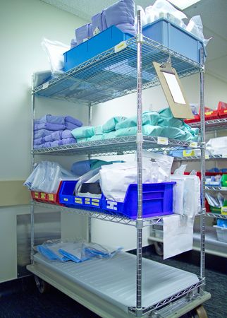 sterile: Sterile supplies in a hospital central supply room (14MP camera).