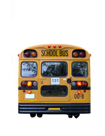 school objects: Real School Bus rear with kids inside (12MP camera, isolated).