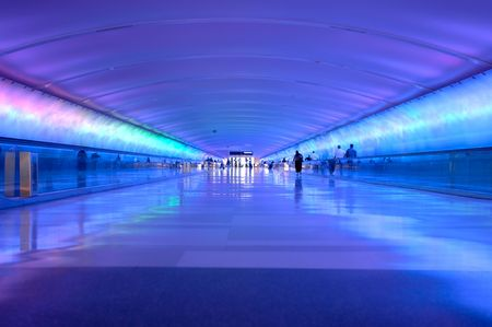 Airport tunnel that glows. 12MP camera. Detroit Metro International Airport. Stock Photo