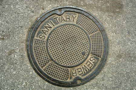 Manhole cover (12MP camera). Stock Photo