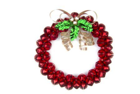A cheery Christmas sleighbell wreath. (12MP camera, isolated)