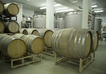 A modern winery cellar. Focus=CO2 stopcock between the two white pillars.(14MP camera)