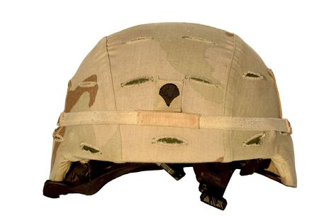 Real U.S. Army helmet with chin strap. This one served in Iraq. Focus = rank emblem = Specialist. 12MP camera.