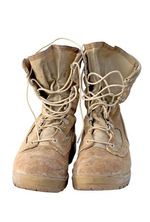 Real pair of U.S. Army boots that served in Iraq. You can still see the mud in the lower seams. Focus = front laces. 12MP camera.