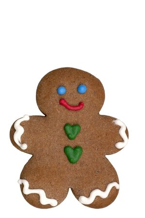 Gingerbread Man cookie (cookie series). Isolated. 12MP camera. Stock Photo