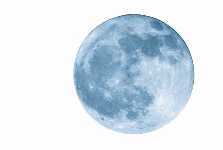 True full April moon (Michigan, USA), isolated for your use. 800mm lens with 2x TC and 1.5x 12MP camera sensor. 2400mm view (35mm equivalent). Cyanotone.