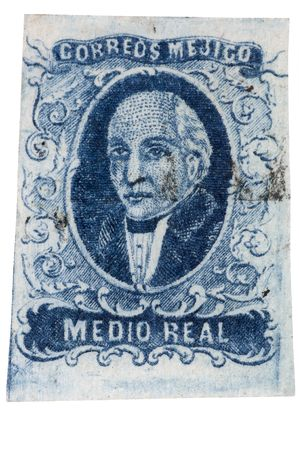 liberator: Authentic first stamp of Mexico, 1856 12 real blue Miguel Hidalgo with light cancellation, hand cut. 12MP camera, isolated.
