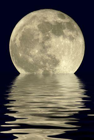 True full April moon (Michigan, USA), natural isolation against black sky.