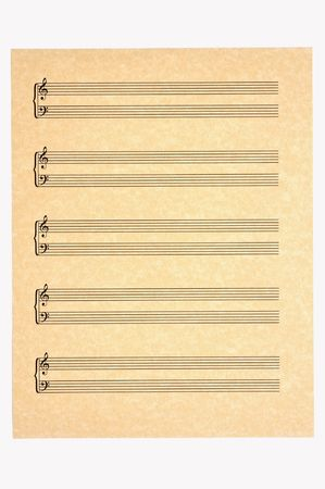 music score: Blank Music Sheet with 5 staves of treble and bass clefs on parchment paper for your composing! Isolated.