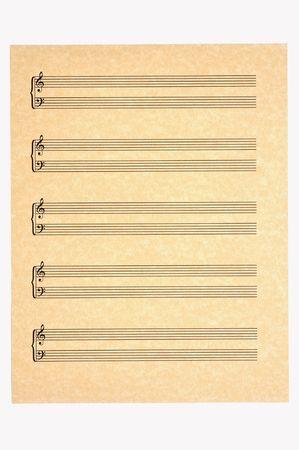 partition musique: Blank Sheet Music avec des port�es de 5 aigus et les basses clefs sur papier parchemin pour votre composition! Isol�.