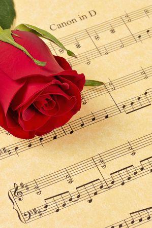 partition musique: Une rose rouge bourgeon repose sur la feuille de musique (papier parchemin). L'accent est mis sur le bouton rose.
