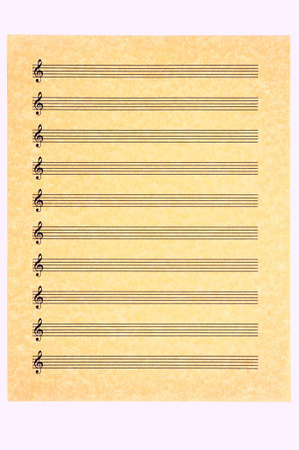sheet music: A blank music sheet, treble clef, on parchment paper ready for your composition. Isolated.
