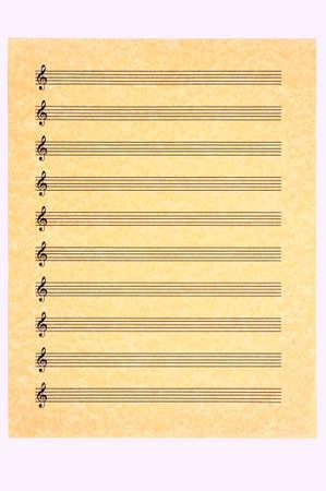 hoja en blanco: Una hoja en blanco m�sica, el triple clave, sobre papel pergamino listo para su composici�n. Aislados.