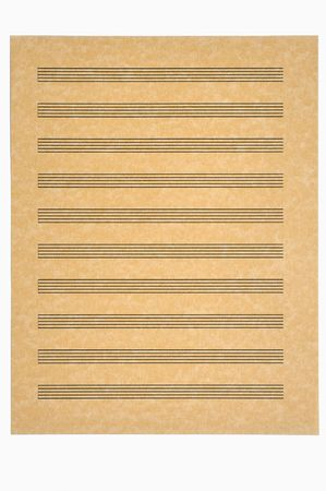 Blank Music Sheet with 10 staves on parchment paper ready for your composition. Isolated.