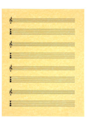 Blank Music Sheet for guitar on parchment paper for your composition. Isolated. photo