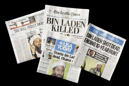 SEATTLE, WA - MAY 02: The Seattle Times and other U.S. newspapers report the death of Osama bin Laden on May 02, 2011. Bin Laden claimed responsibility for the September 11, 2001 attacks on the U.S. Stock Photo - 9489118