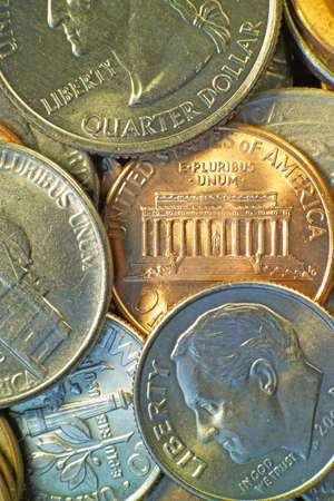pluribus: American coins, including the penny, nickel, dime, and quarter. (Macro,14MP camera) Stock Photo