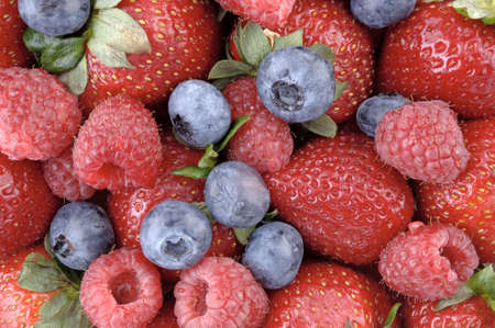 A mouthwatering horizontal display of the strawberry, blueberry, and raspberry. (macro, 12MP camera)