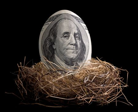 nest egg: A one hundred dollar bill is shaped like an egg and is sitting in a birds nest.
