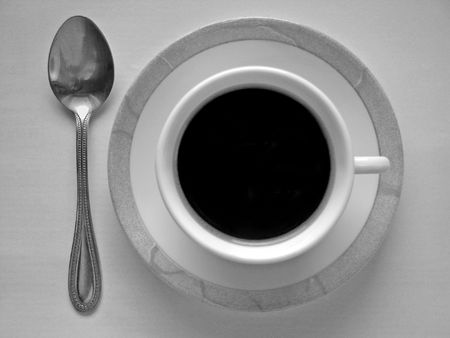 Cup of coffee and spoon Stock Photo - 519148