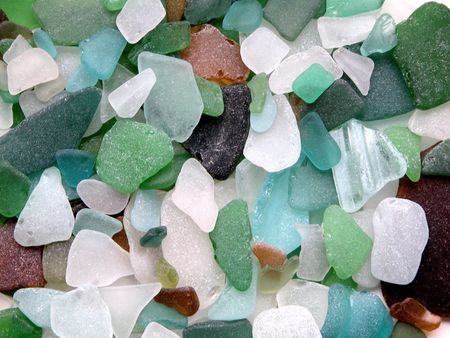 beach mat: Colorful matted glass stones from Baltic sea, Lithuania