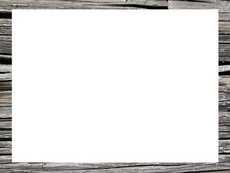 Natural wood frame with white empty space      photo
