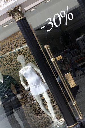 splendour: Dummies at the luxury clothing boutique window  Stock Photo