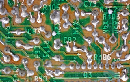 electronics industry: Circuit board close-up, electronics industry background
