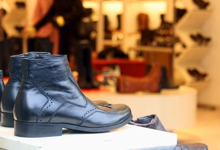 Men shoes for sale at the department store Stock Photo