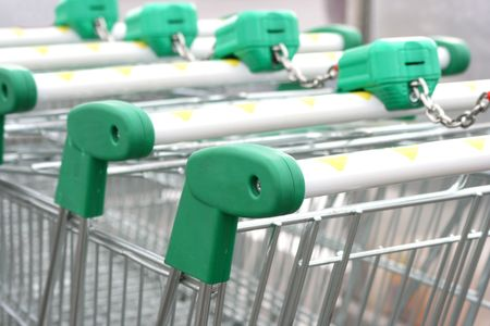 Close up of the shopping carts tied together in a row Stock Photo - 1960682