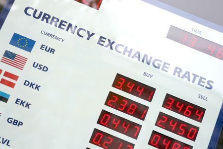 A fragment of the currency exchange rates board, window display, Stock Photo
