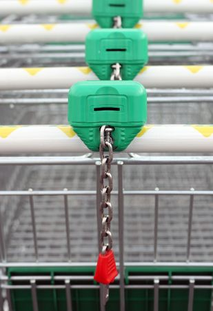 Close up of the shopping carts tied together in a row Stock Photo - 2146804