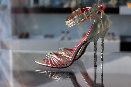 Elegant woman shoes with plenty of copy space