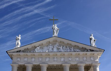 Three statues of the saints on the Vilnius cathedral, Lithuania Stock Photo - 4695133