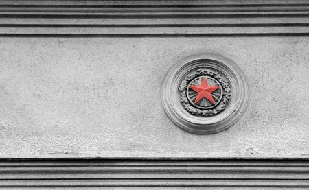 Black and white picture of Soviet times architecture exterior with red star detail Stock Photo - 6126379