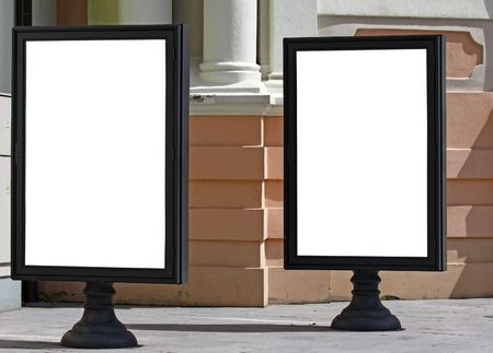 Two empty billboards on the city street to add text Stock Photo - 7685895