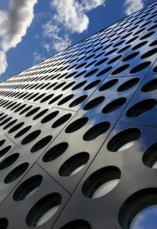 doted: Doted architecture abstract with perspective against blue sky