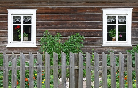 Two ancient wooden architecture windows in rural environment  photo