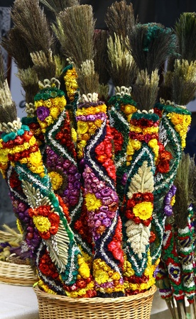Traditional Lithuanian palm twigs caled verba made of dried flowers   photo