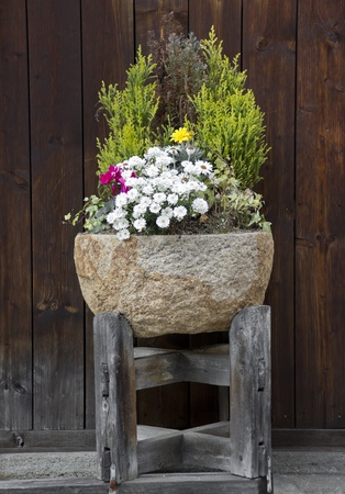 Stone flower pot with nice arrangement of plants and flowers photo