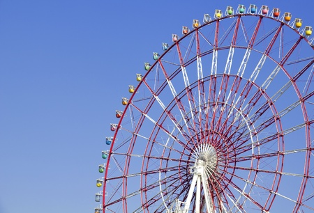 Detail of a colorful ferris wheel in Tokyo, Japan, with copy space to add text photo