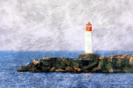 Digital painting of white lighthouse and stone pier photo