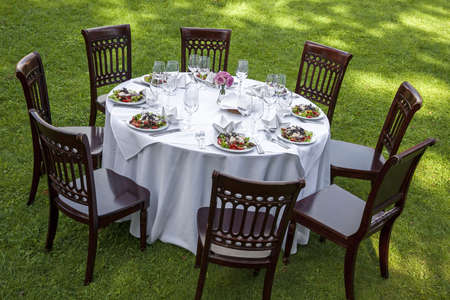 formal dinner party: Table setting with chairs for garden banquet