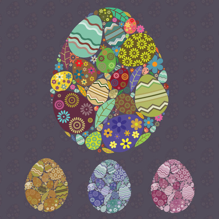 Collection of four easter eggs isolated on dark easter eggs pattern Vector