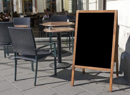 tabule: Prázdné nabídce tabule stánek a venkovní kavárna