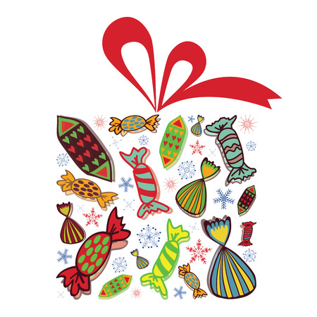 christmas gift box: Christmas gift box illustration. Gift box is full of candies and snowflakes