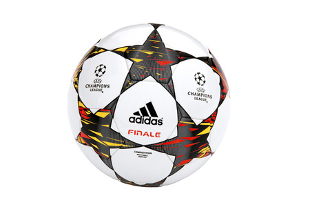 adidas: VILNIUS, LITHUANIA - JANUARY 10, 2015: The Adidas Finale 2014-15 UEFA Champions League Ball isolated on white background