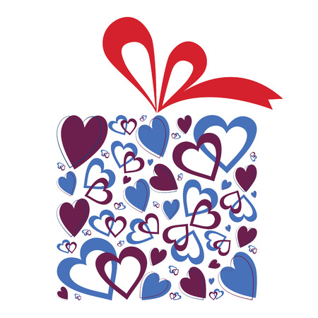 surprise box: Illustration of gift box with red ribbon and full of Valentine hearts. Isolated on white background Illustration